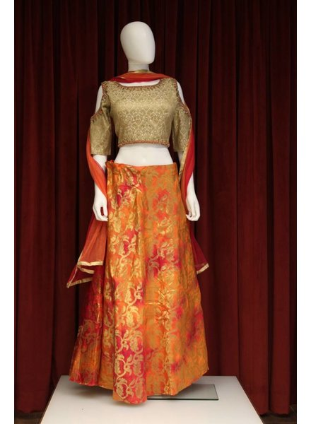 Party Wear Red and Orange Lehenga