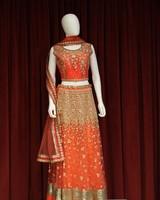 Party Wear Orange Lehenga w/ Flowers