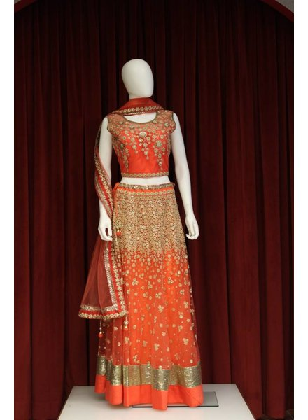 Party Wear Orange Lehenga w/ Flowers