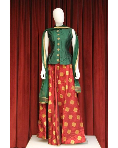 Party Wear Red and Green Lehenga