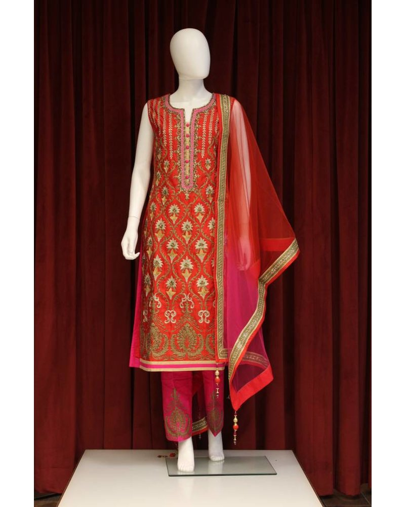 Party Wear Orange Salwar Kameez