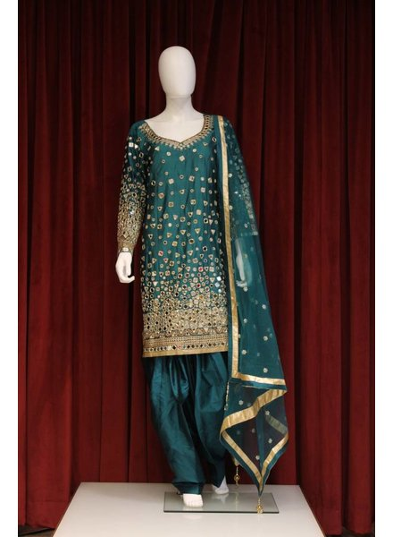 Party Wear Green Salwar Kameez