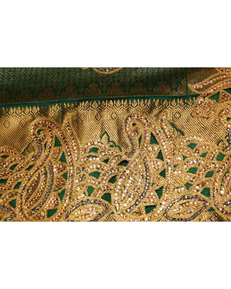 Bridal Green and Gold Saree
