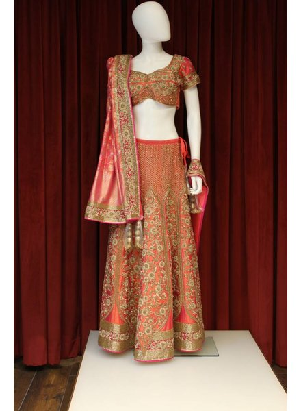 Bridal Pinkish Orange Lehenga