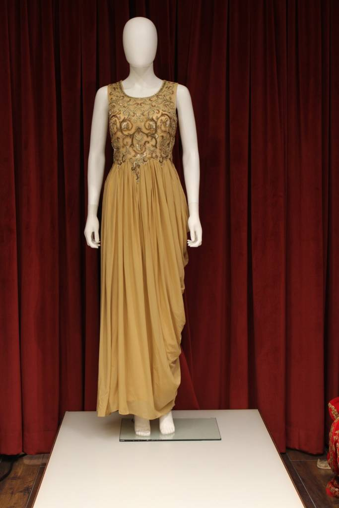 Party Wear Golden Gown - Chandan Fashion