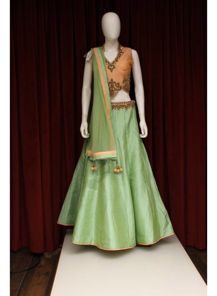 Party Wear Green and Peach Lehenga