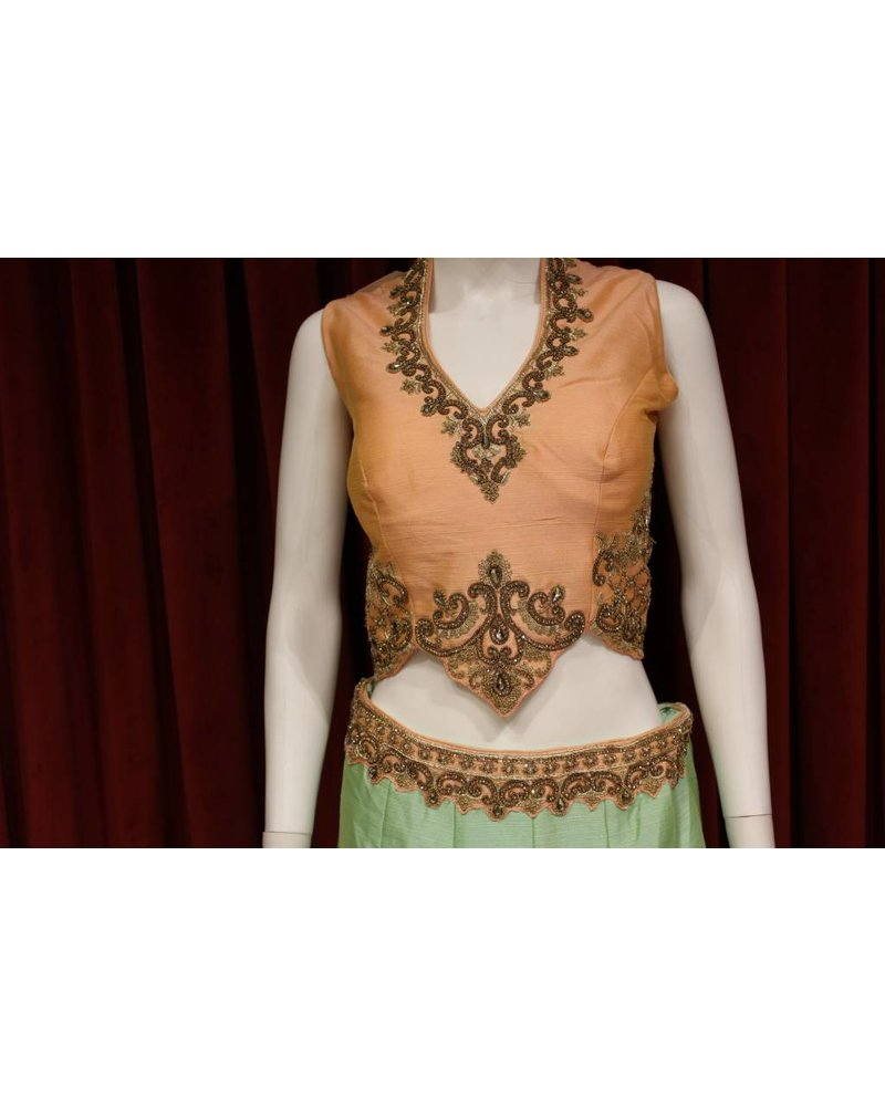 Party Wear Green and Peach Lehenga