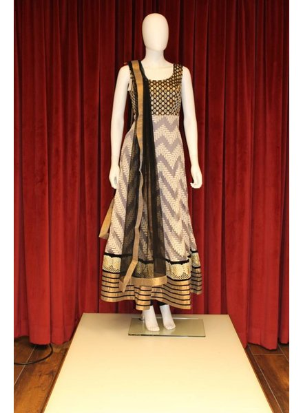 Party Wear Black with Grey Anarkali