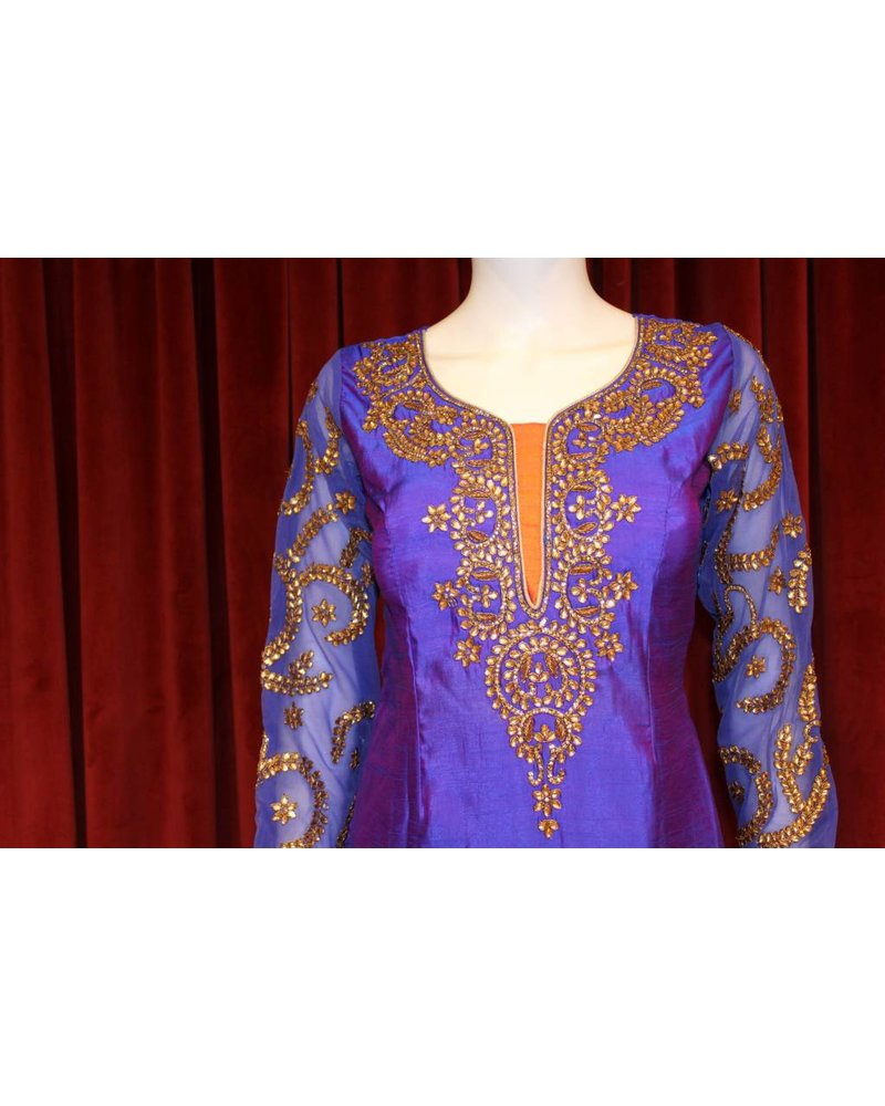 Party Wear Purple and Orange Salwar Kameez