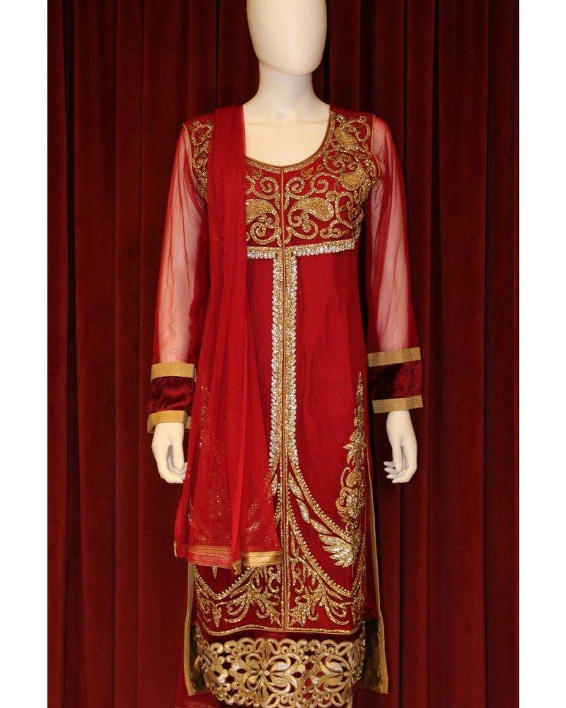 Party Wear Maroon Salwar Kameez