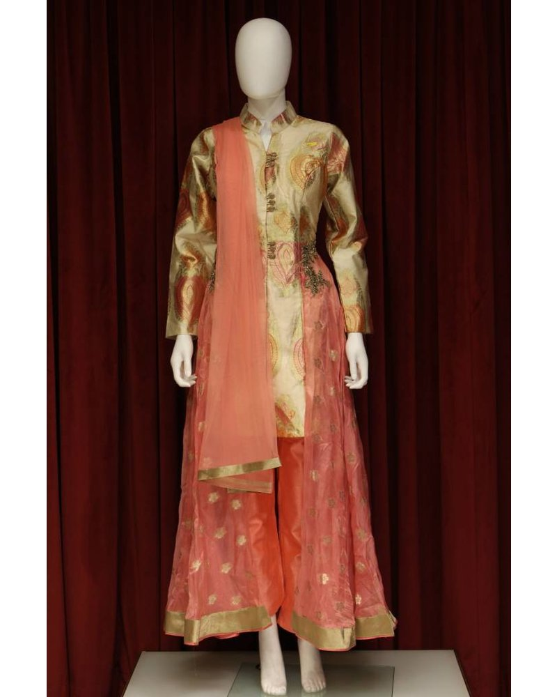 Party Wear Cream and Pink Sharara