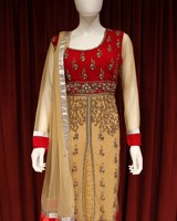 Party Wear Maroon and Cream Salwar Kameez