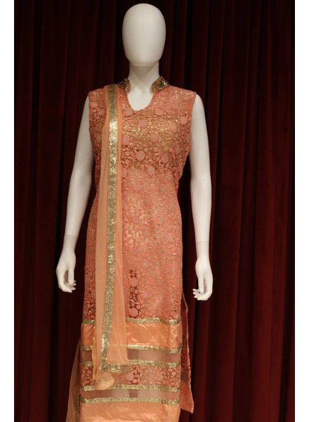 Party Wear Pink and Peach Salwar Kameez