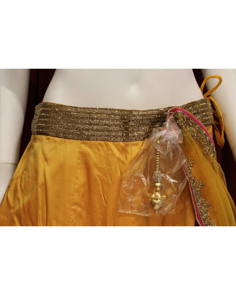 Party Wear Yellow and Pink Lehenga