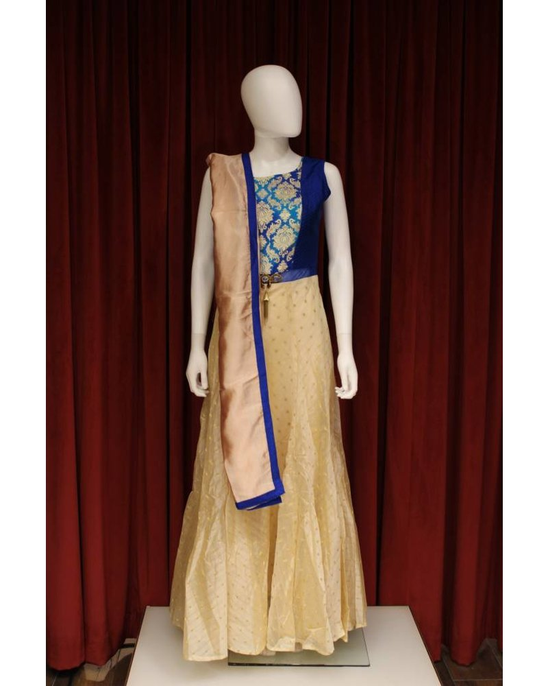 Party Wear Royal Blue and Cream