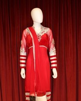 Party Wear Red Shalwar Kameez