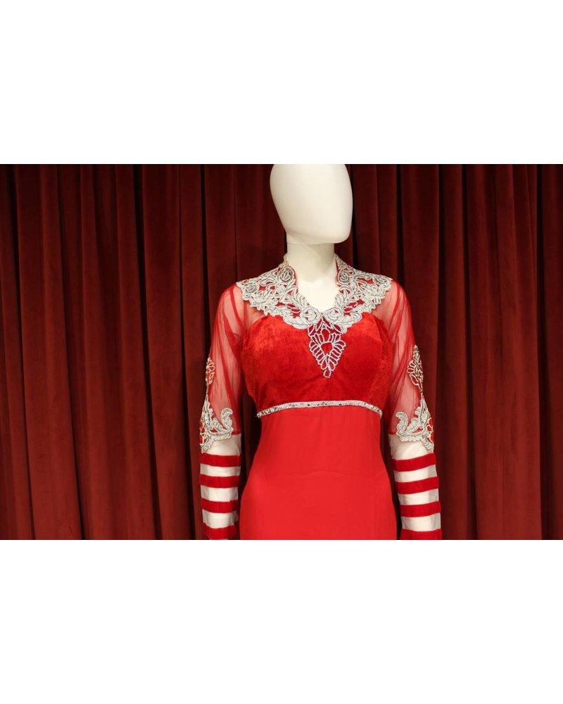 Party Wear Red Shalwar Kameez