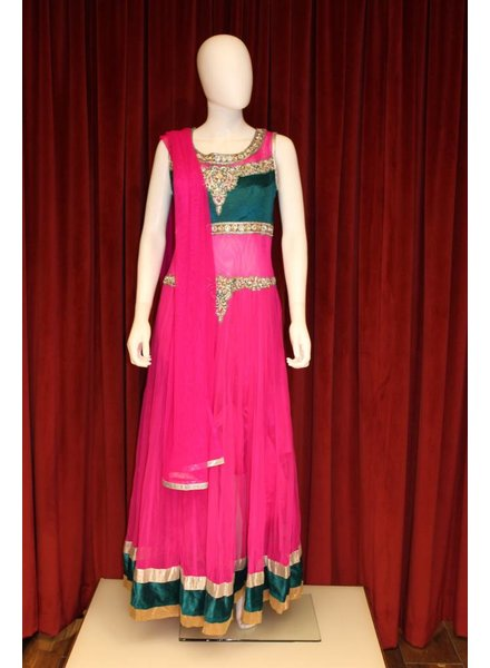 Party Wear Pink and Dark Green Gown