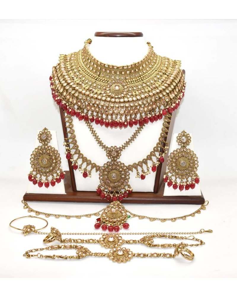 Gold Bridal Set w/ stone and bead work.
