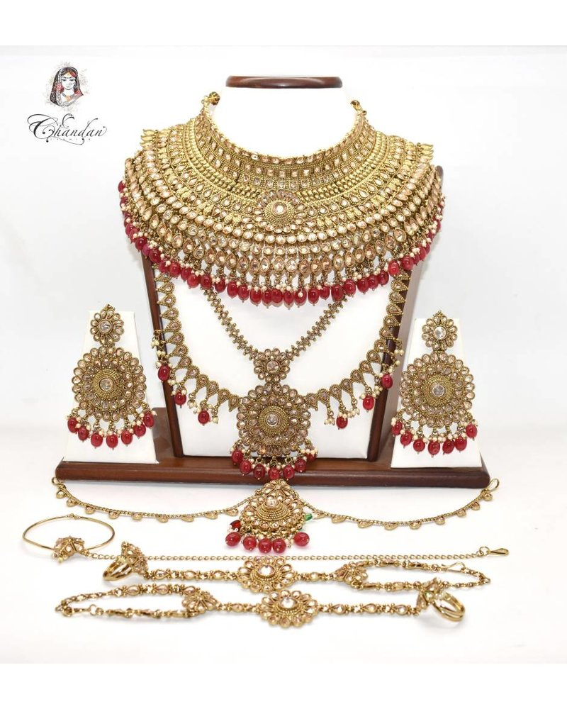 Gold Bridal Set w/ stone and bead work