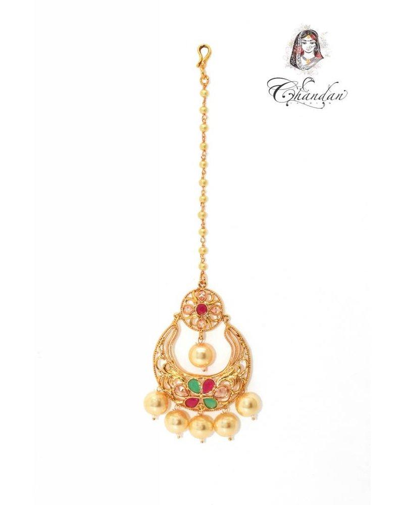 Gold Tikka w/ multicolor meena work