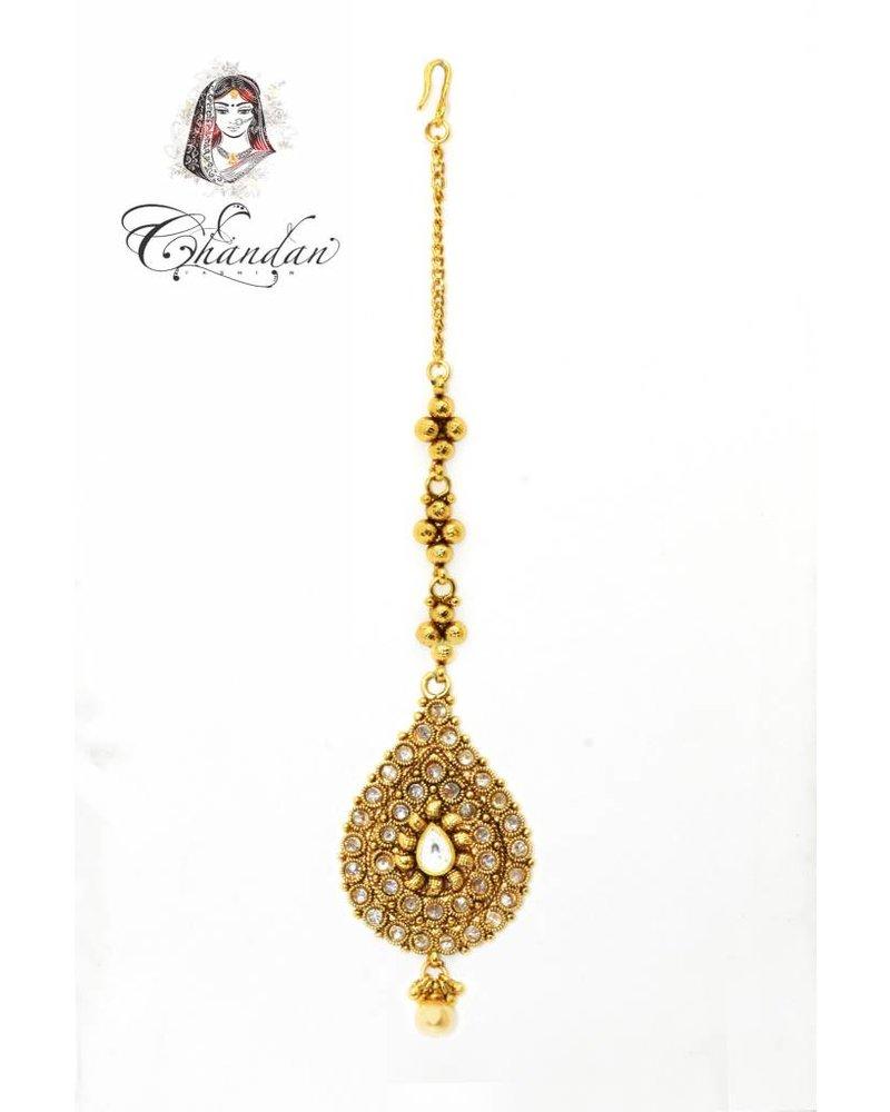 Gold Tikka w/ white stones