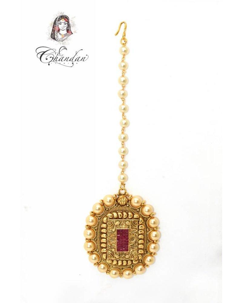Gold Tikka w/ pink stone & white pearls