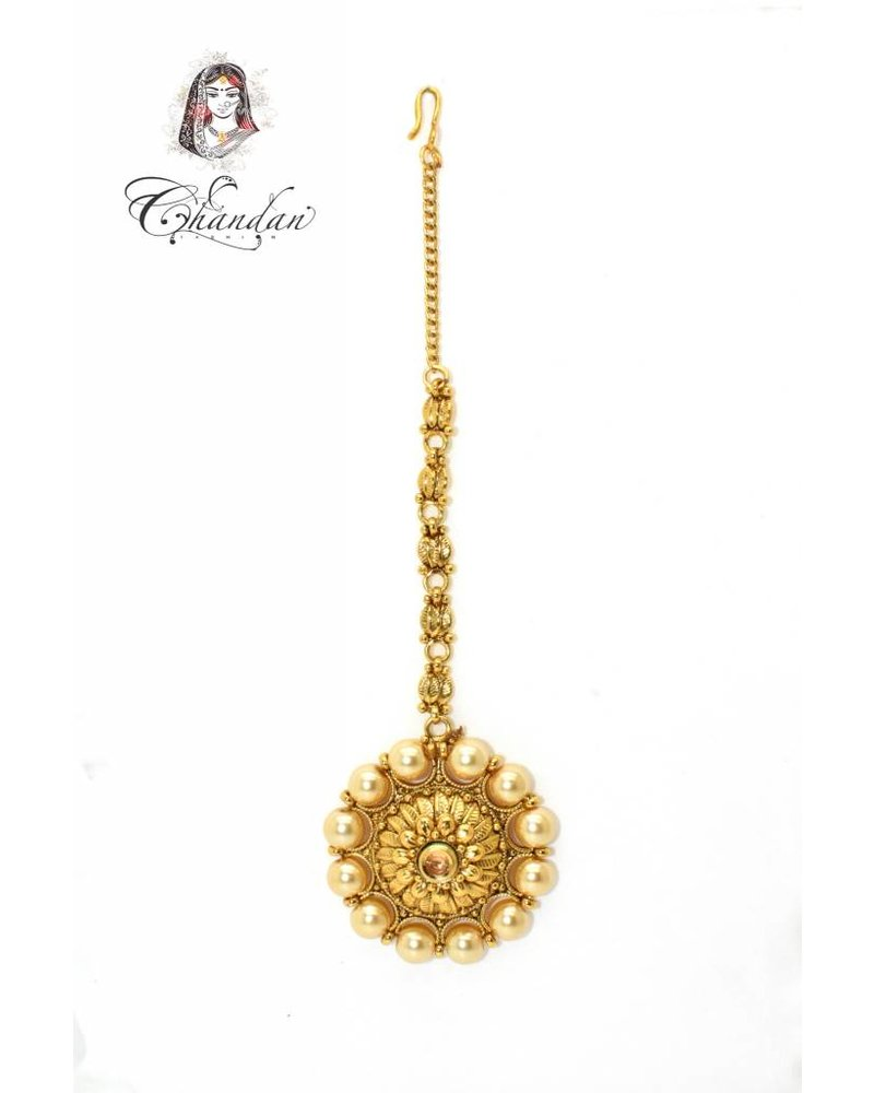 Gold Tikka w/ gold stone & white pearls