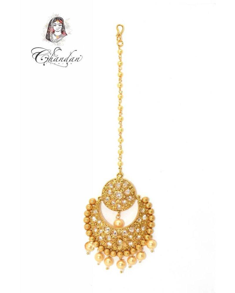 Gold Tikka w/ white stones & pearls
