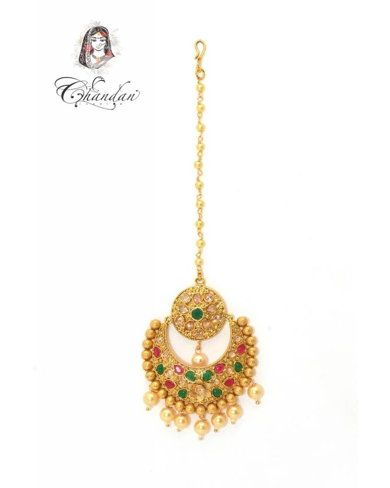 Gold Tikka w/ multicolor stones & pearls