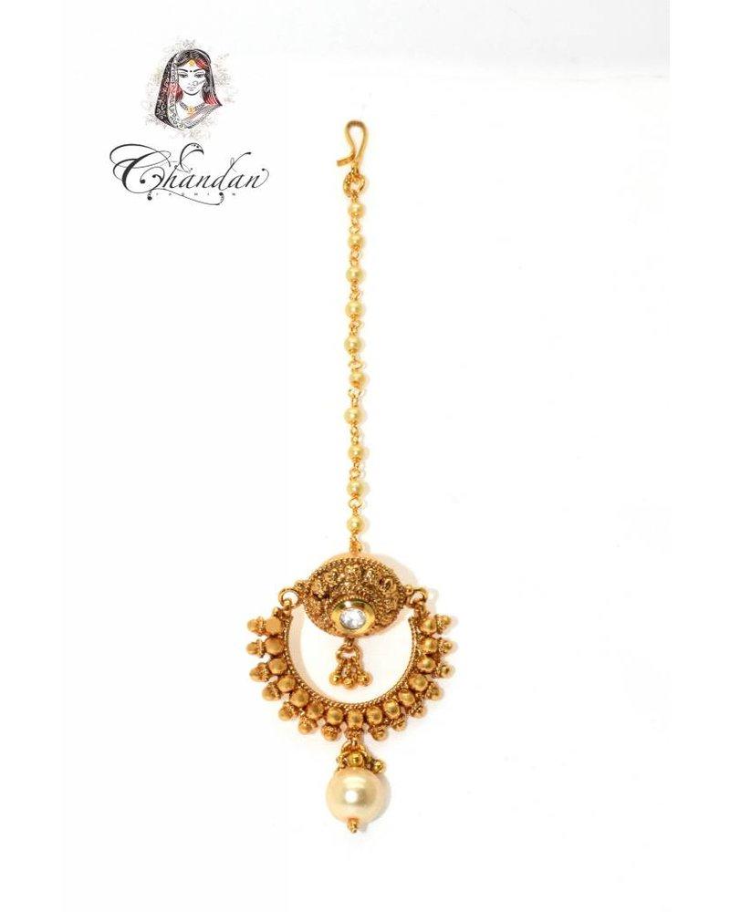 Gold Tikka w/ white stone & white pearl