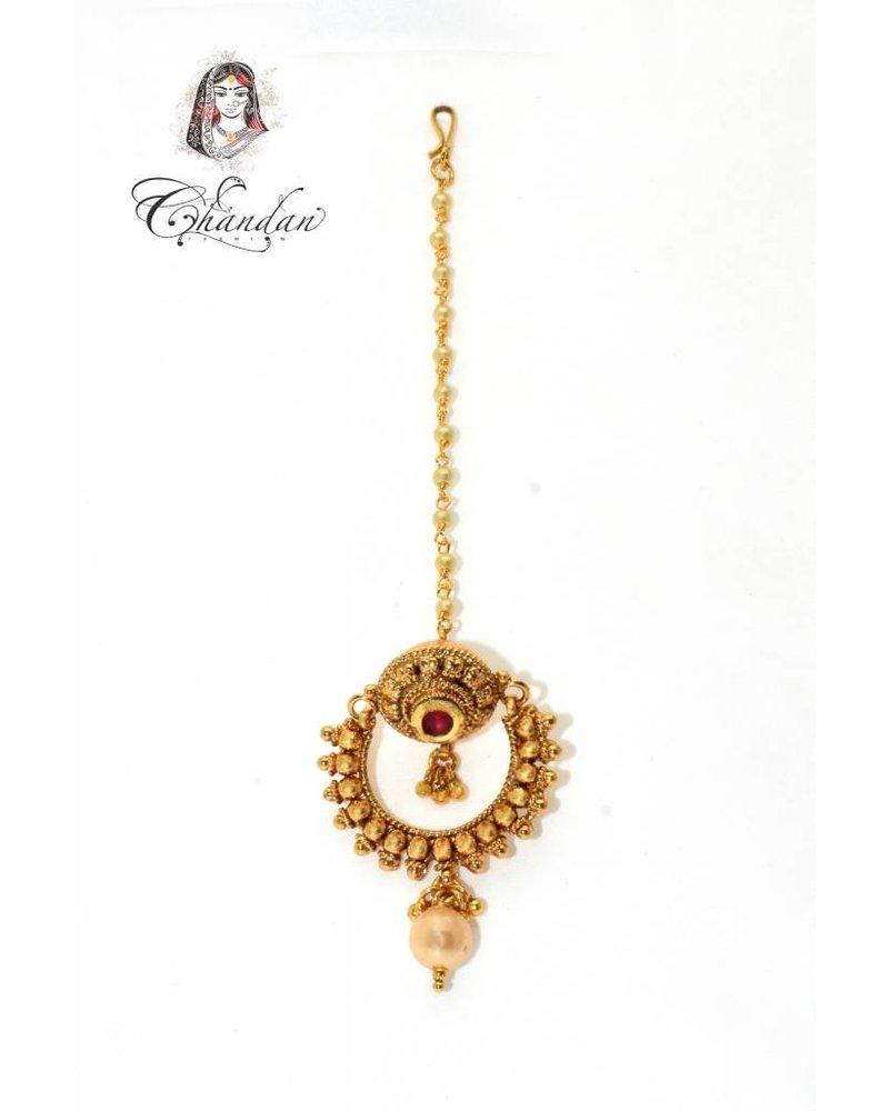 Gold Tikka w/ pink stone & white pearl
