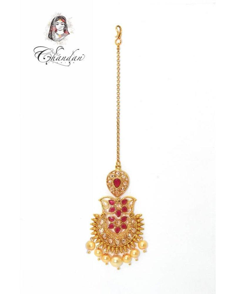 Gold Tikka w/ pink stones & white pearls