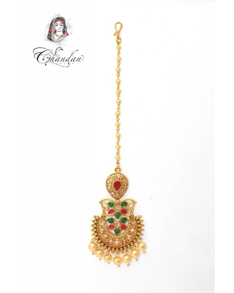 Gold Tikka w/ multicolor stones & white pearls