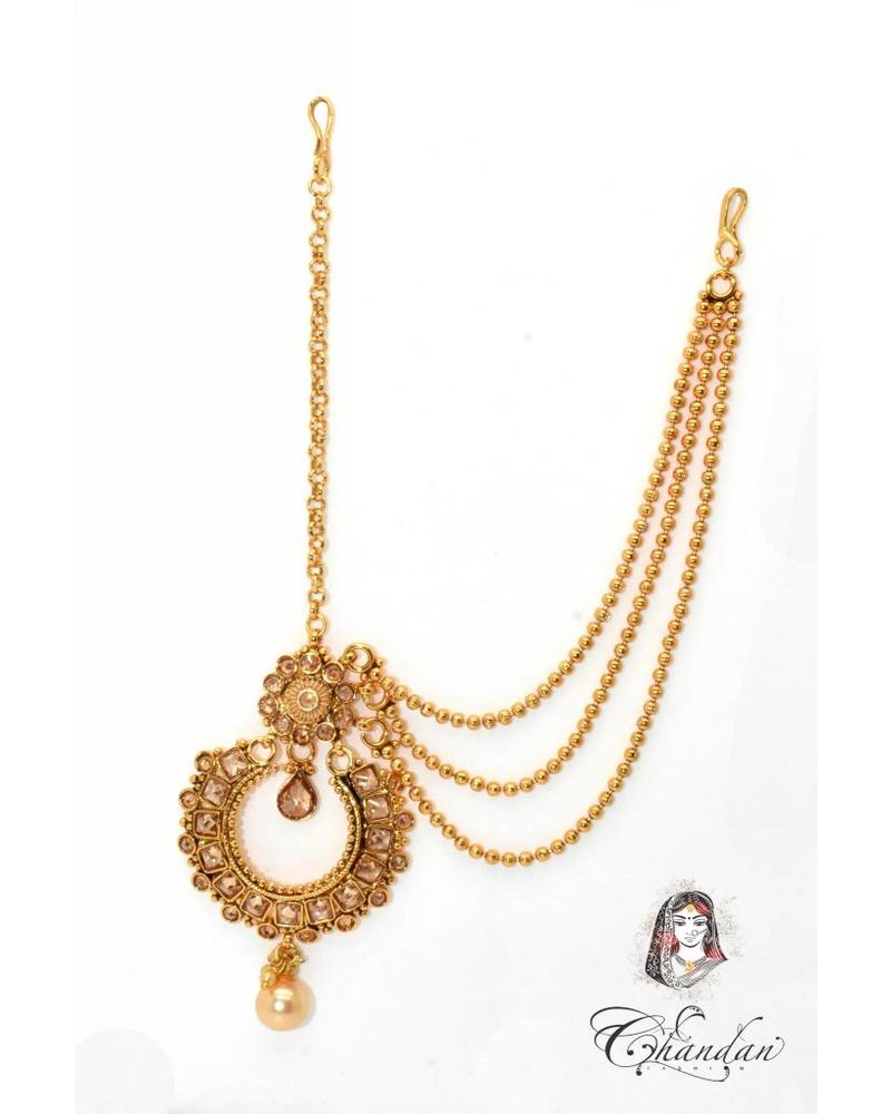 Gold Tikka w/ golden stones and one sided chains