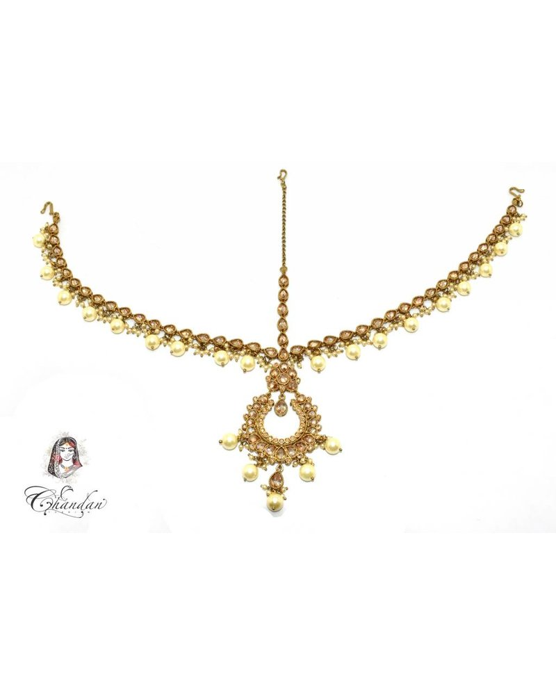 Gold Matha Patti w/ stones & white pearls