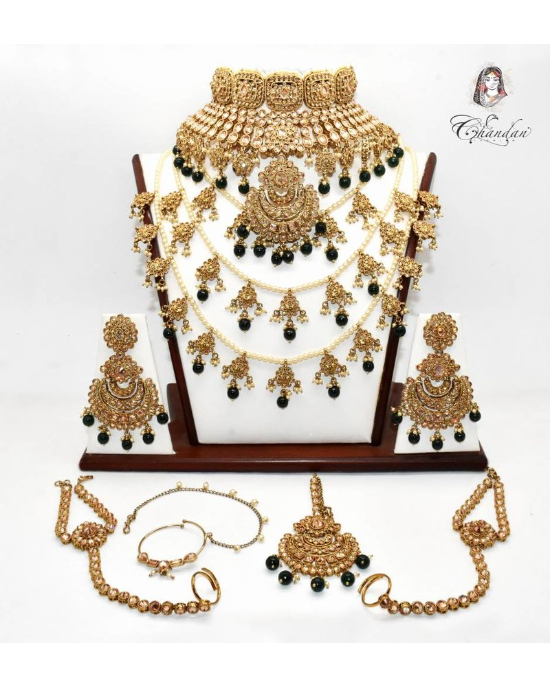 Gold Bridal Set w/ stones, beads & pearls