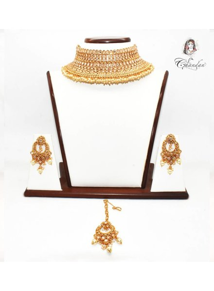 Gold Necklace Set w/ stone & small pearls