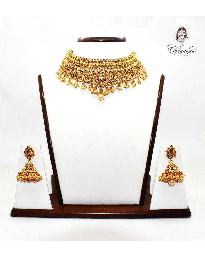 Gold Necklace Set w/ Stones