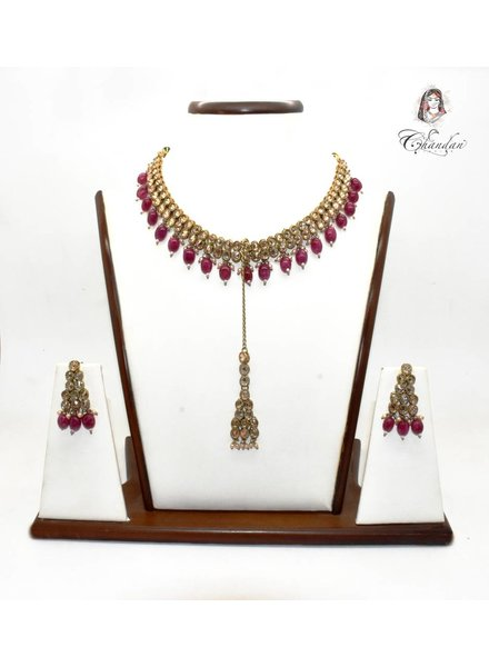 Gold Necklace Set w/ Maroon beads