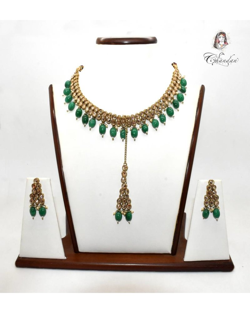 Gold Necklace Set w/ Green Beads