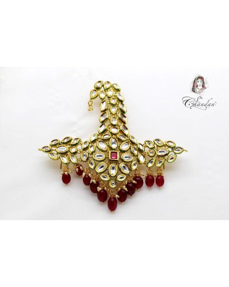Kalgi w/ white stones & red beads