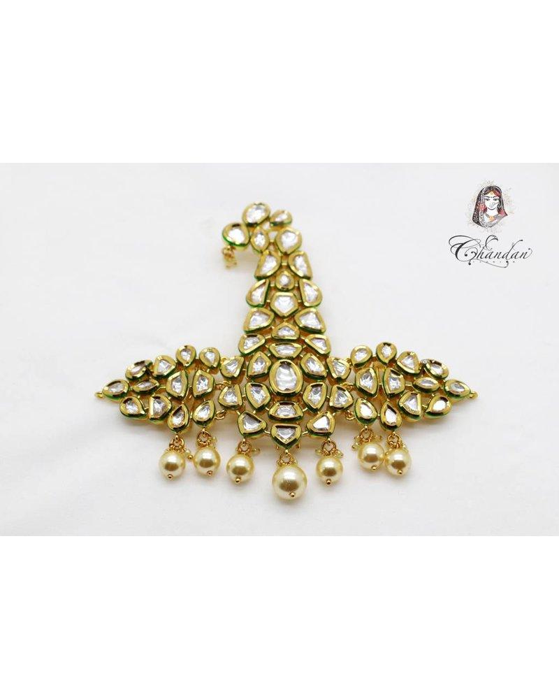 Gold Kalgi w/ white stones & white pearls