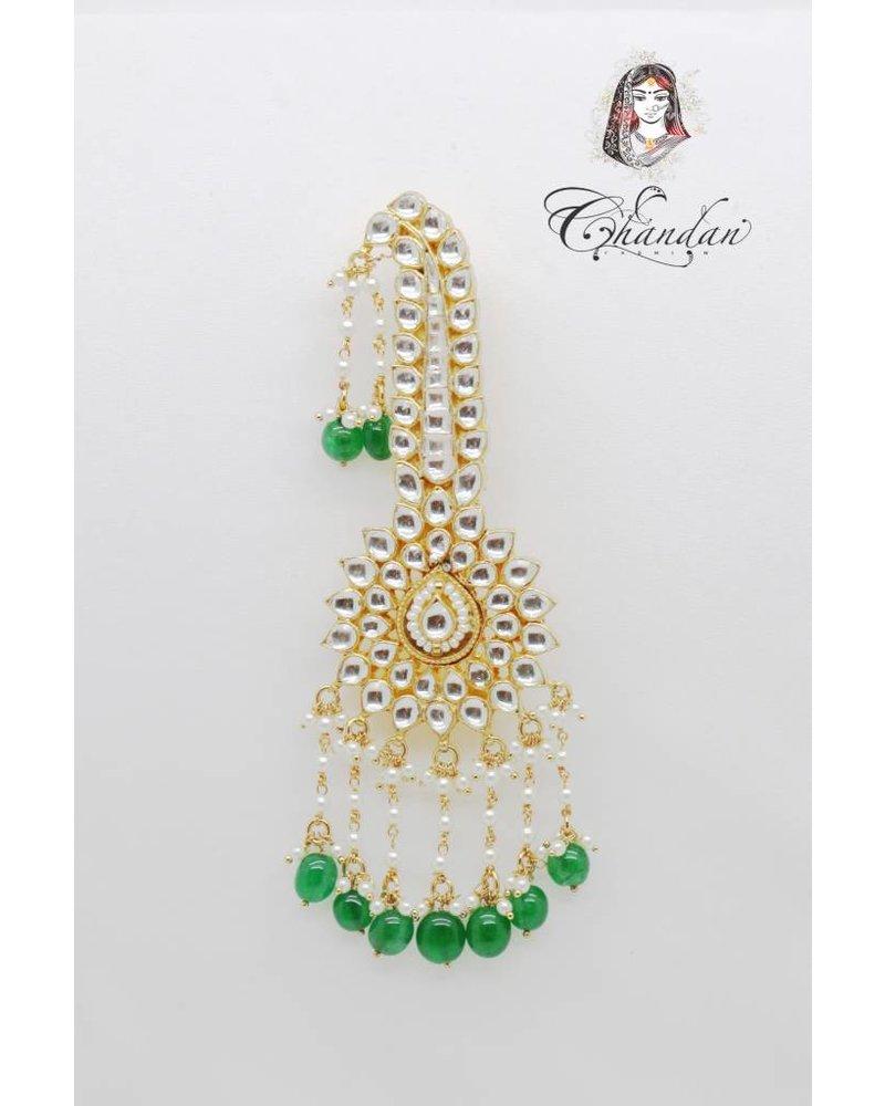 Gold Kalgi w/ white stones & green Beads