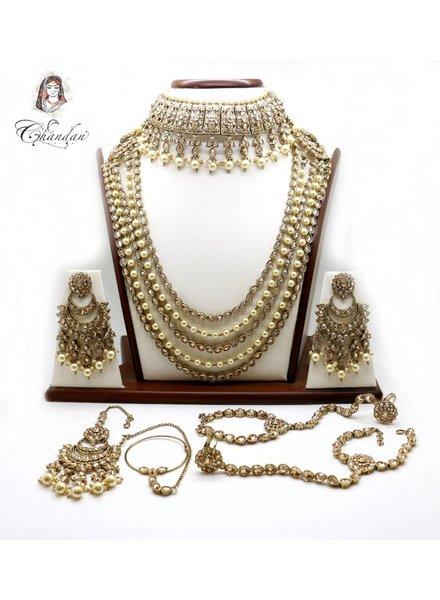Gold Bridal Set w/ stone & pearl detailing