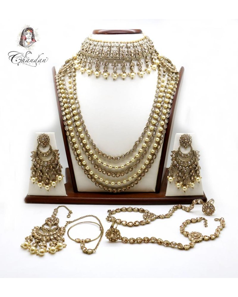 Gold Bridal Set w/ stone & pearl detailing