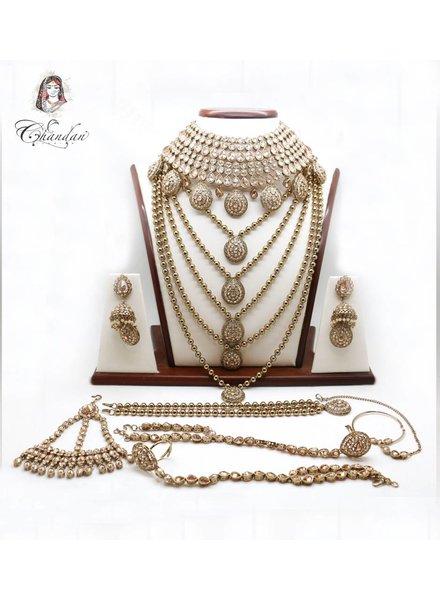 Gold Bridal Set w/ stone work & gold beads detailing