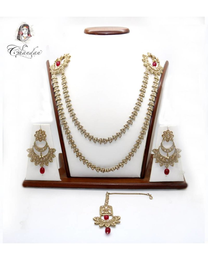 Long Necklace w/ Stone & Beads Detailing