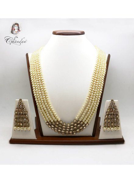 Pearls & Stone Necklace w/ Stone Earings