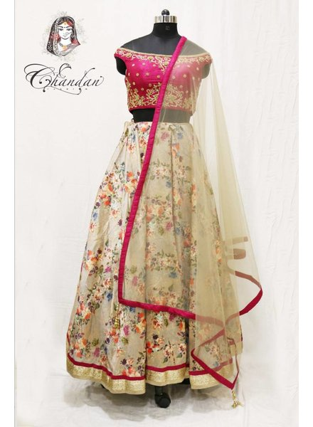 Pink embroidered choli with khakhi floral printed lehnga